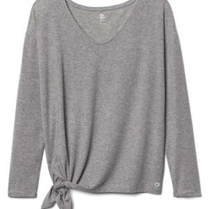 GAP side-tie grey workout top NWT
